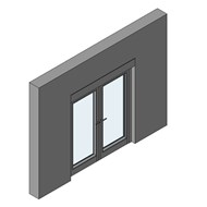 CS 104 Door outward opening with double transom - bim