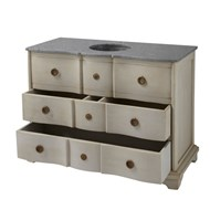 Wooden washbasin cabinet and black or grey marble - bim