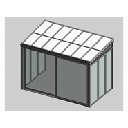 Solar greenhouse with sliding door panel blind 4m - bim