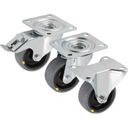 Swivel and fixed castors, steel plate, electrically conductive standard version - bim