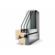 Window - wood, aluminum - 2 doors - roller - coat - 60 x 130 cm - bim