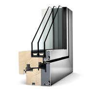 Window - wood, aluminum  1 door - 60 x 130 cm - bim